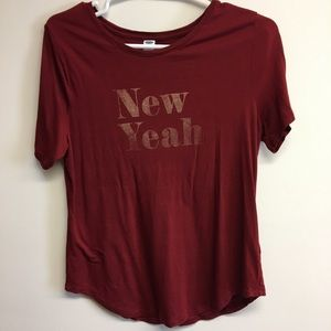 Old Navy maroon glitter graphic T-shirt